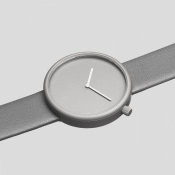Minimalist Faux Leather Strap Analog Watch - Gris