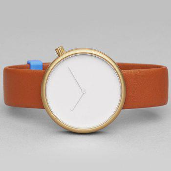 Minimalist Faux Leather Strap Analog Watch - Brun Doré