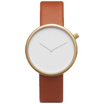Minimalist Faux Leather Strap Analog Watch - GOLD BROWN GOLD BROWN