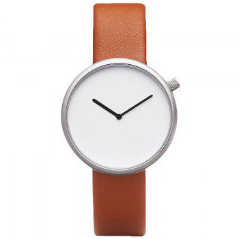Minimalist Faux Leather Strap Analog Watch - BROWN BROWN