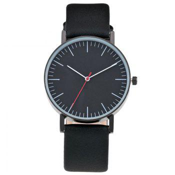 Faux Leather Band Minimalist Watch - BLACK BLACK