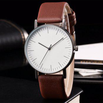 Faux Leather Band Minimalist Watch -  BROWN