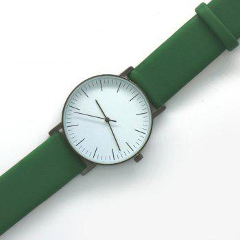 Faux Leather Band Minimalist Watch -  GREEN