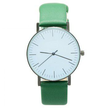Faux Leather Band Minimalist Watch - GREEN GREEN