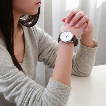 Minimalist Faux Leather Date Watch - BROWN