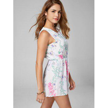 Lace Up Sleeveless Chiffon Floral Romper - WHITE WHITE