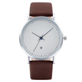Minimalist Faux Leather Date Watch - BROWN BROWN