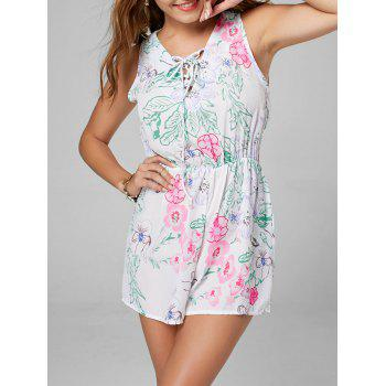 Lace Up Sleeveless Chiffon Floral Romper - WHITE S