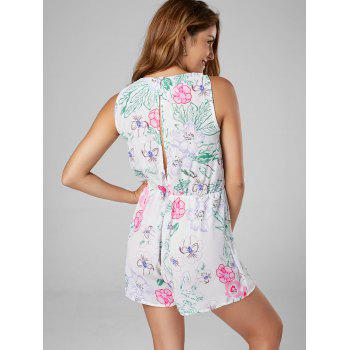 Lace Up Sleeveless Chiffon Floral Romper - S S