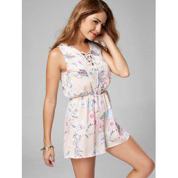Lace Up Sleeveless Chiffon Floral Romper - L L