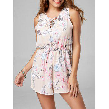 Lace Up Sleeveless Chiffon Floral Romper - PINK L