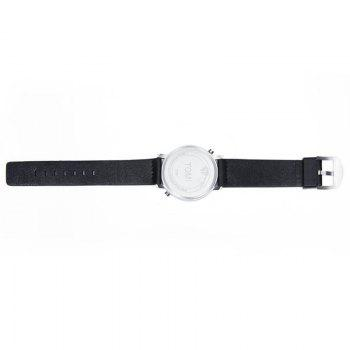 Minimalist Faux Leather Strap Round Watch - BLACK / SILVER
