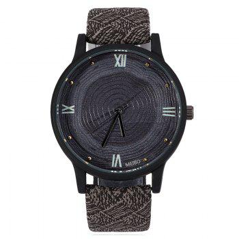 Faux Leather Wood Growth Rings Face Watch