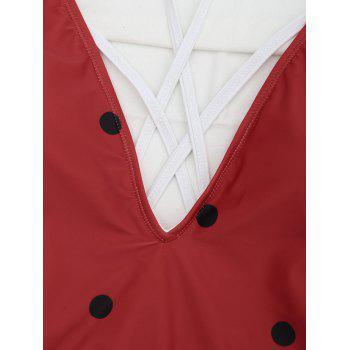 Cross Back One Piece Watermelon Swimsuit - RED XL
