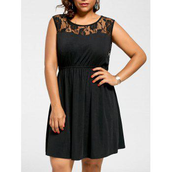 Plus Size Lace Yoke Sleeveless Skater Dress