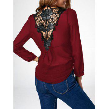 Lace Trim Chiffon Asymmetric Long Sleeve Blouse