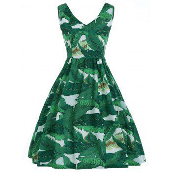 A Line V Neck Tropical Leaf Print Dress