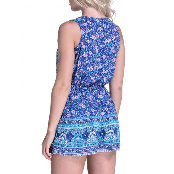 Drawstring Waist Floral Cover Up Romper - BLUE XL