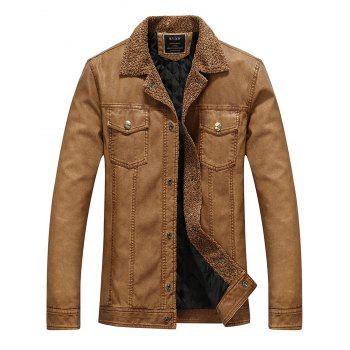 Double Pockets Faux Leather Padded Jacket