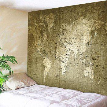 Wall Hanging Vintage World Map Tapestry - BRONZE BRONZE