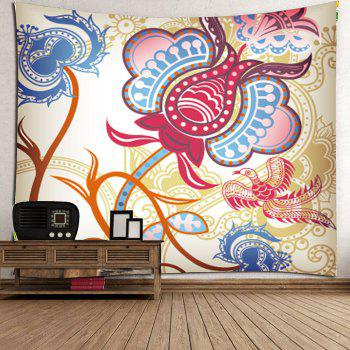 Floral Phoenix Print Wall Tapestry - COLORFUL W59 INCH * L59 INCH