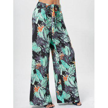 Printed Belted Wide Leg Pants - GREEN GREEN