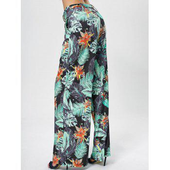 Printed Belted Wide Leg Pants - GREEN 2XL