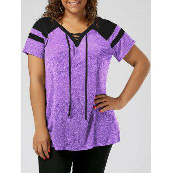 Plus Size Raglan Sleeve Lace Up Top