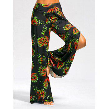 High Slit Butterfly Print Palazzo Pants