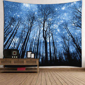 Wall Hanging Forest Pattern Tapestry - BLUE W91 INCH * L71 INCH