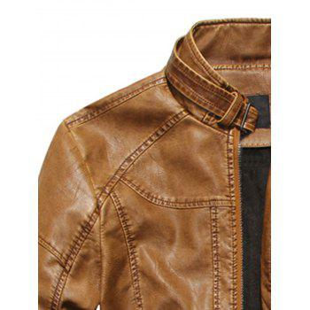 Stand Collar Fleece Zip Up PU Leather Jacket - CLEMENTINE CLEMENTINE