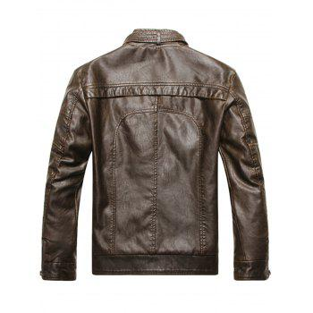 Stand Collar Fleece Zip Up PU Leather Jacket - COFFEE 3XL