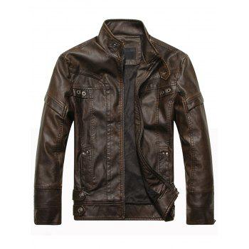 Stand Collar Panel Design Fleece PU Leather Jacket