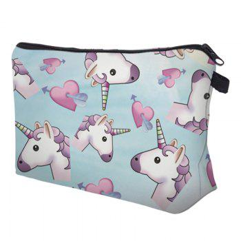 Cartoon Unicorn Printed Makeup Bag -  AZURE