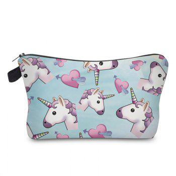 Cartoon Unicorn Printed Makeup Bag - AZURE AZURE