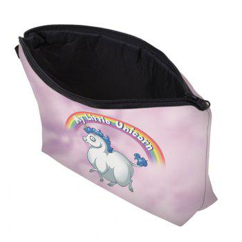 Cartoon Unicorn Printed Makeup Bag -  PINKISH PURPLE