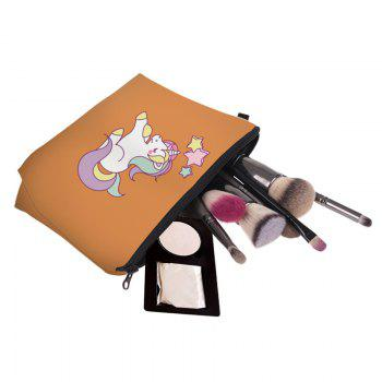 Cartoon Unicorn Printed Makeup Bag -  ORANGE