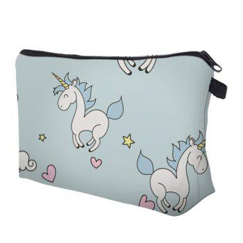 Sac de maquillage imprimé Cartoon Unicorn - Nuageux