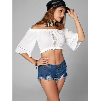 Off The Shoulder Ruffle Textured Crop Top - WHITE WHITE