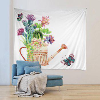 Wall Hanging Art Decor Succulents Watering Can Print Tapestry - multicolorcolore W59 INCH * L51 INCH