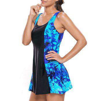 Printed Lace Up One Piece Skirted Swimsuit - BLUE/BLACK M