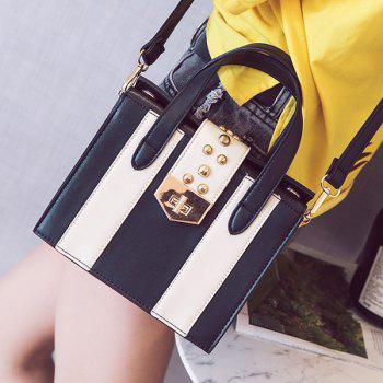 Turnlock Contrast Color Handbag -  WHITE/BLACK