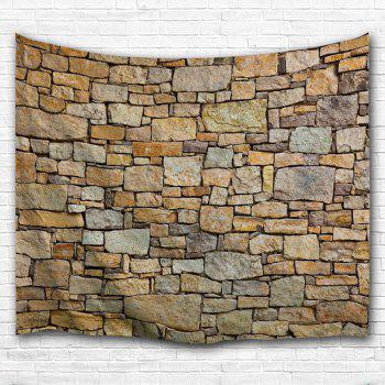 Natural Stone Brick Print Wall Hanging Tapestry - BROWN W71 INCH * L91 INCH