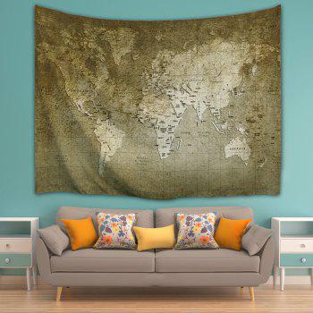 Wall Hanging Vintage World Map Tapestry - BRONZE W71 INCH * L91 INCH