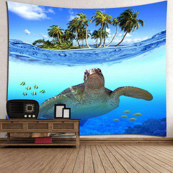 Palm Fish Sea Turtle Print Wall Hanging Tapestry - BLUE W79 INCH * L71 INCH