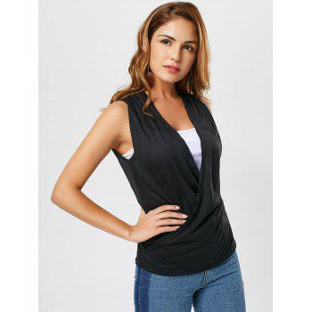 Surplice Two Tone Sleeveless Top - BLACK M