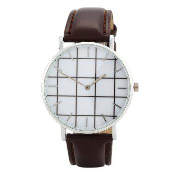 Plaid Face Faux Leather Watch - BROWN BROWN