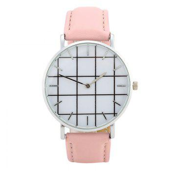 Plaid Face Faux Leather Watch - PINK PINK