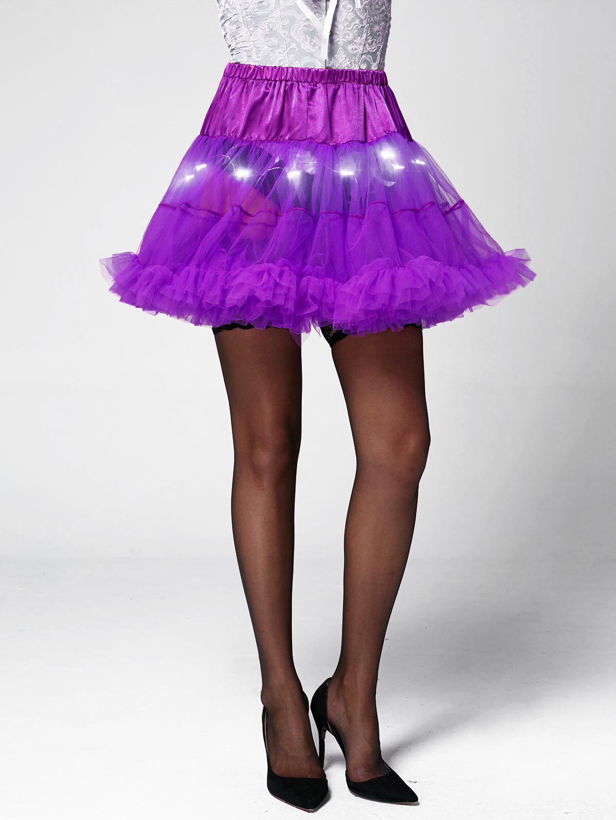 Ruffles Light Up Tutu Voile Cosplay Skirt - LIGHT PURPLE ONE SIZE