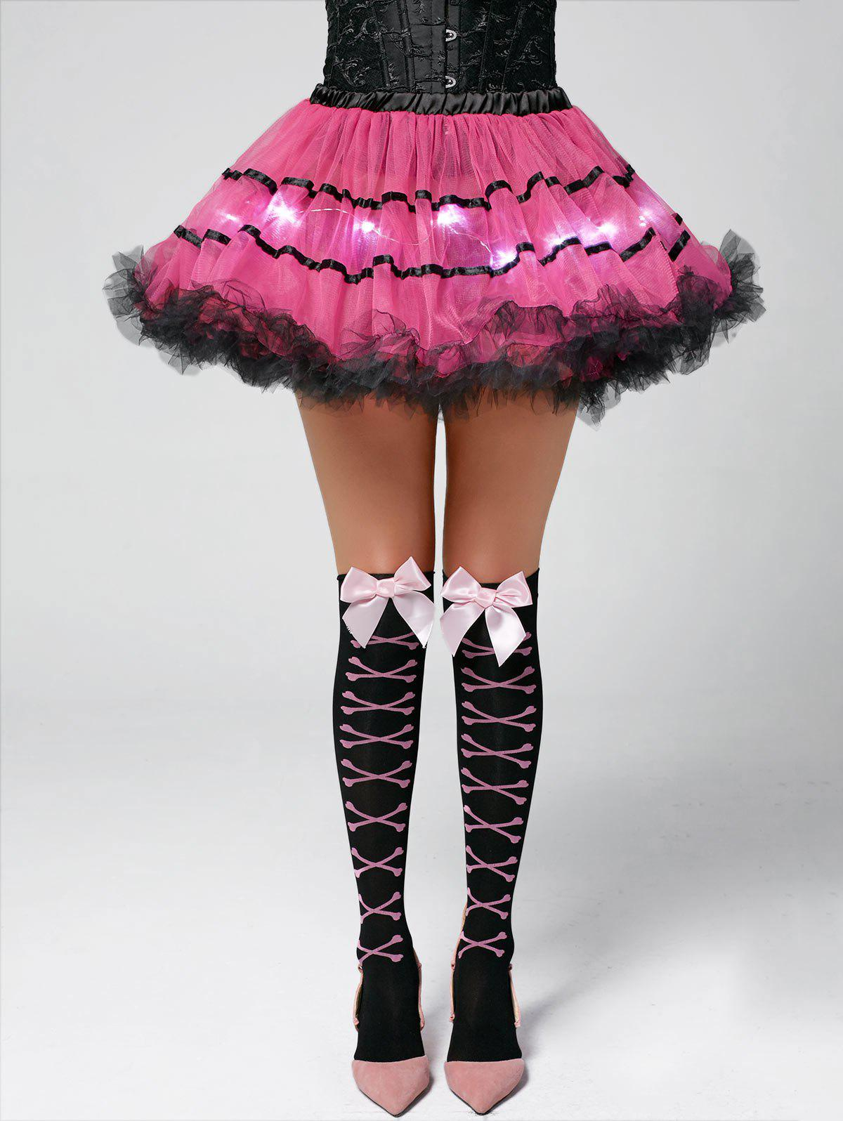 Color Block Tier Light Up Tutu Cosplay Jupe - Rose Foncé ONE SIZE